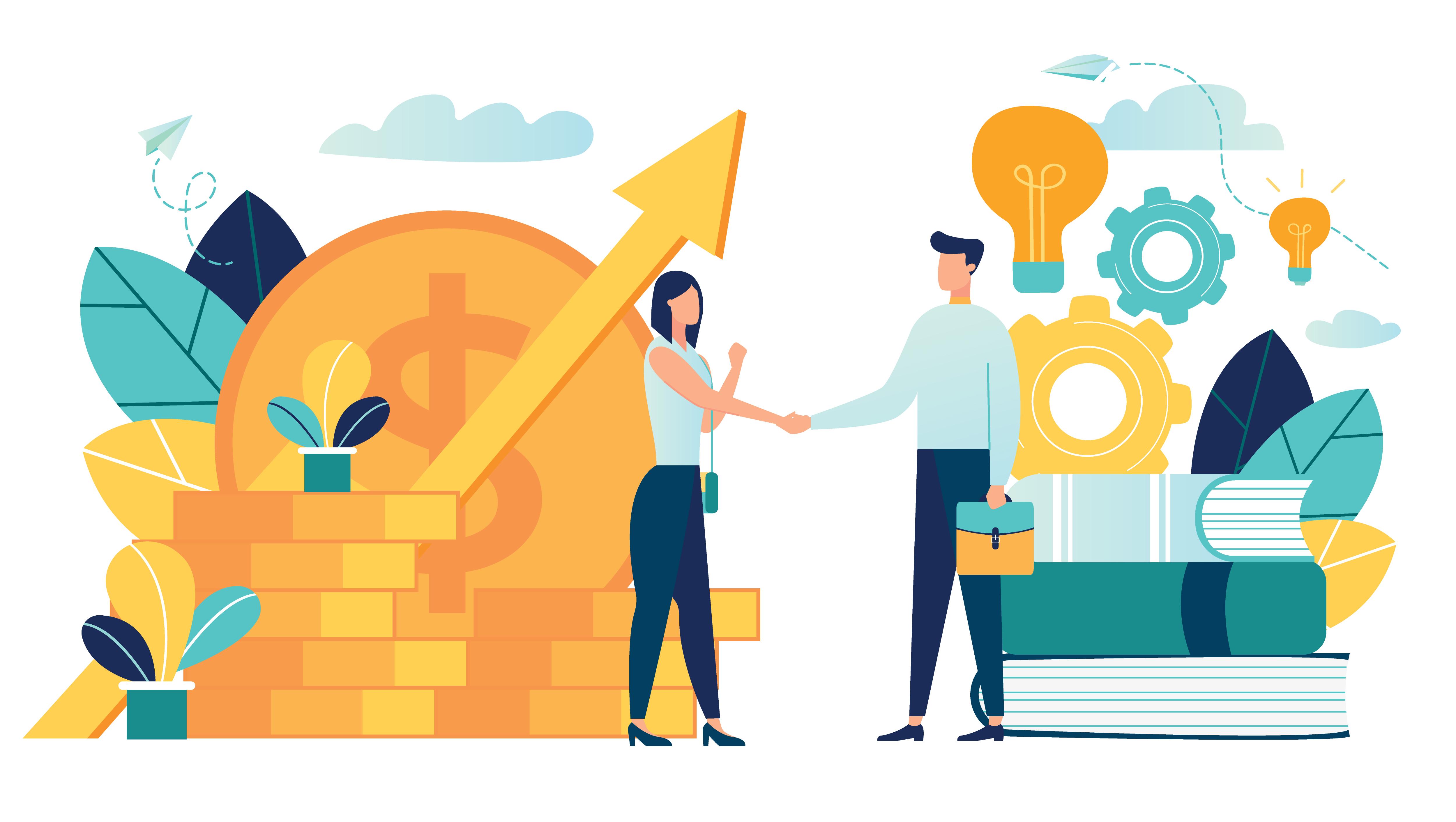 illustrasjon av vekst, økonomi og forretninger